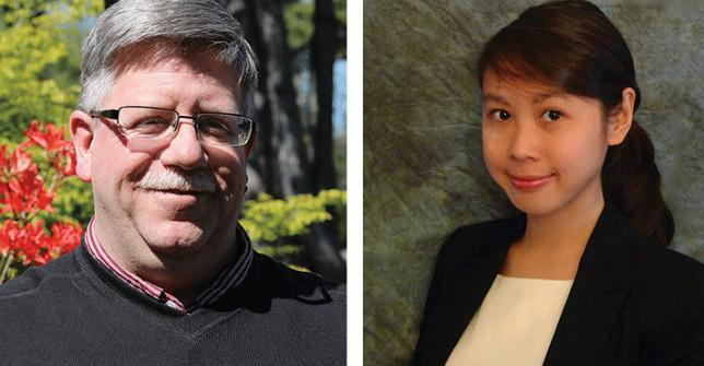 From left: Chemistry Prof. Dave Phippen & Joice Pranata, Shoreline Class of 2013.