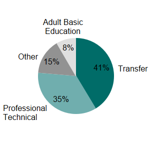 Student Pathway: Transfer, Professional and Technical, Adult Basic Education, Other