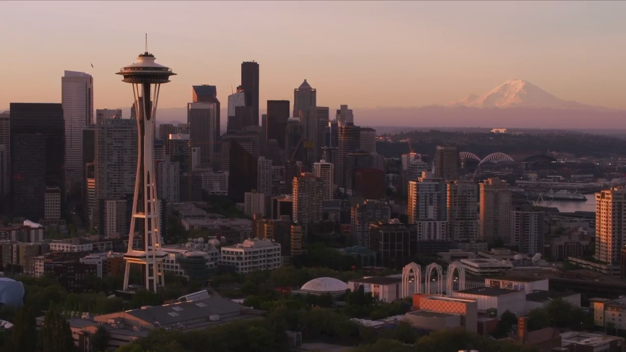 Seattle skyline with Mount Rainier video still