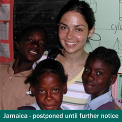 Shoreline student with students in her classroom in Jamaica