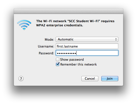 OS X Wi-Fi credentials